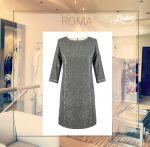 Sukienka wieczorowa Roma wykonana z wełny z połyskującą złotą nitką